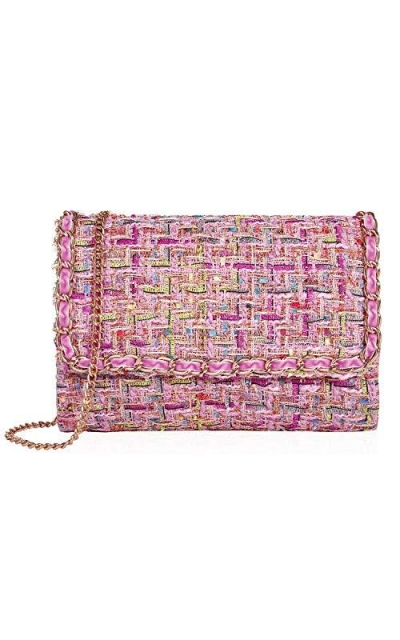 Tweed Fabric Clutch Bags With Detachable Chain
