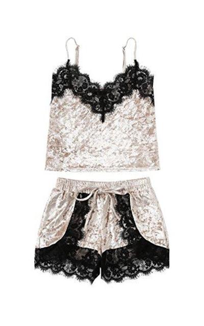DIDK Lace Trim Velvet Bralette Shorts Pajama Set