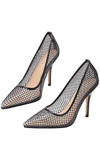 Vivi Sexy Clear Fishnet Pointed Pumps