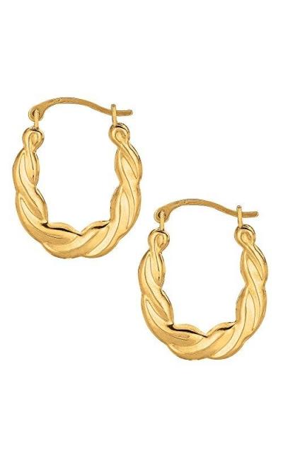 10k Yellow Gold Shiny Twisted Oval Hoop Earrings