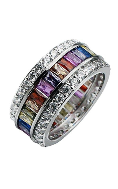 Multicolor Band Baguette Gemstone Ring