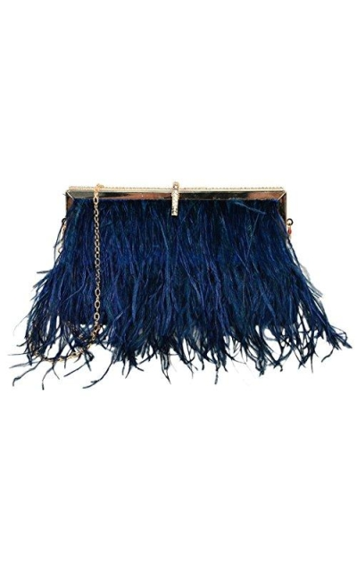 Zakia Real Natural Ostrich Feather Evening Clutch