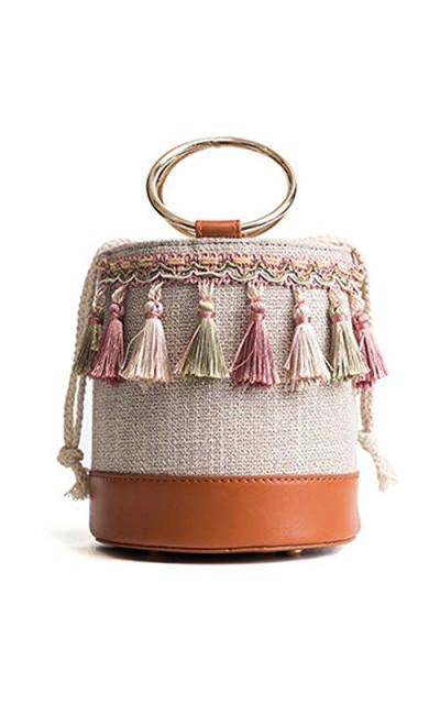 Ring Handle Bucket Beach Bag