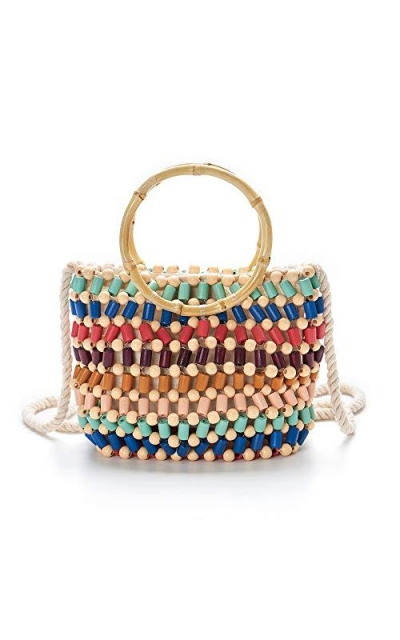 Handmade Beaded Hand-Woven Beach Bag