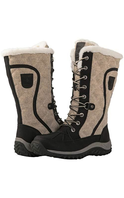 GLOBALWIN 1913 Black/Beige Mid Calf Winter Snow Boots