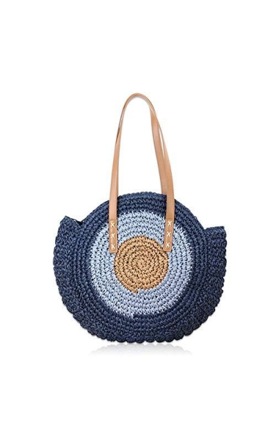 POVNOI Round Straw Bag