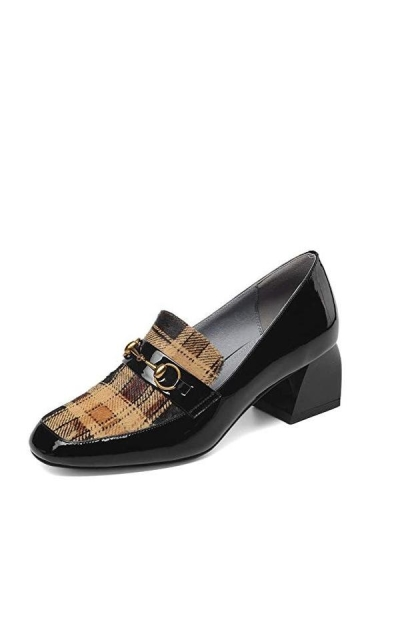 Nine Seven Patent Leather Closed Square Toe Loafers