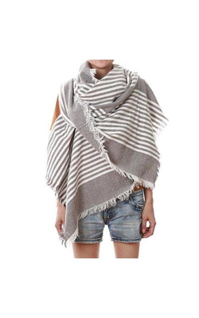 Oversized Striped Blanket Scarf