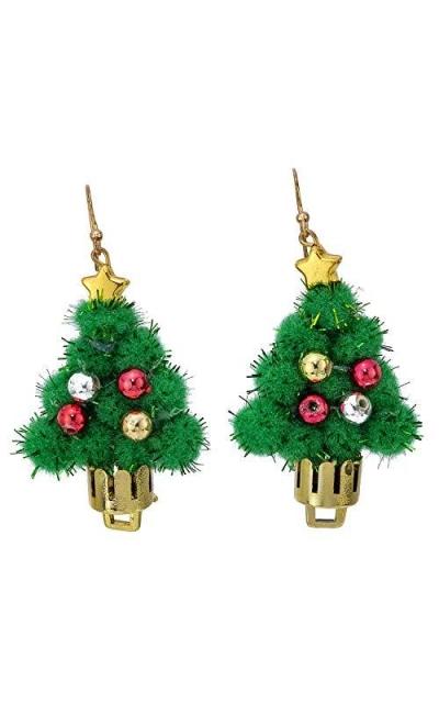 Madison Tyler Pom Pom Christmas Tree Earrings