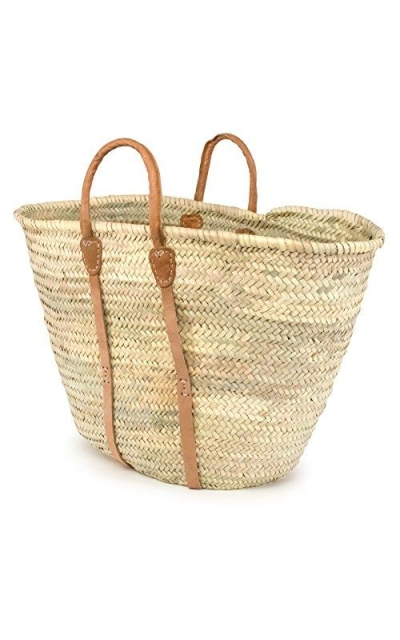 Moroccan Straw Beach Tote w/Leather Handles