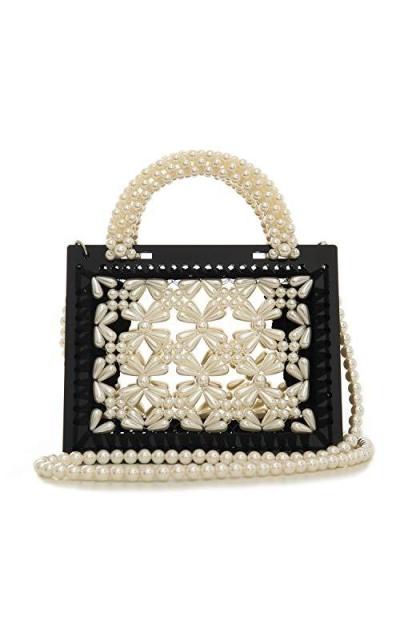 BOKPLD  Weave Crystal Pearl Tote Bag