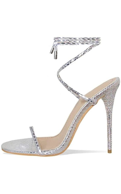 Hell&Heel Silver Snake Lace Up Diamante Stiletto