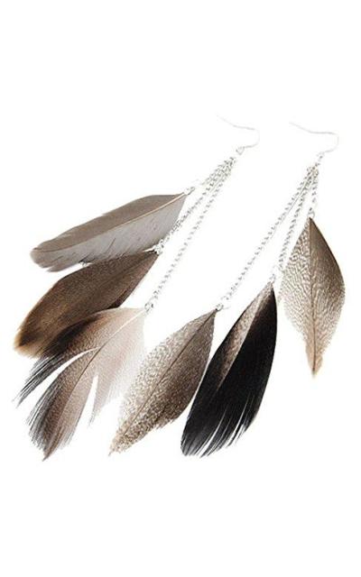 AnVei-Nao Feather Tassel Earrings