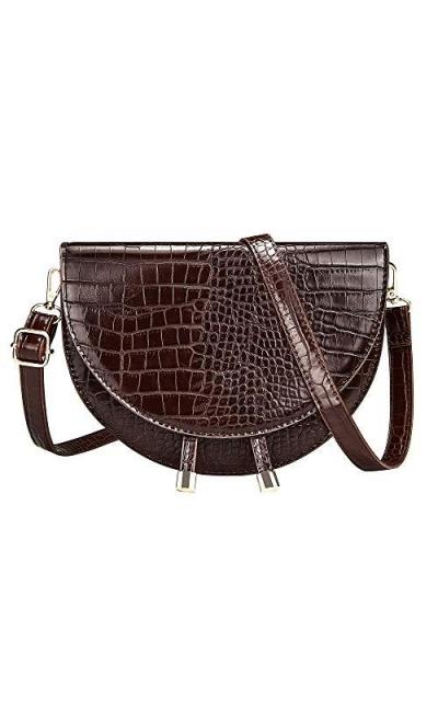 CILLA Crocodile Leather Crossbody Saddle Bag
