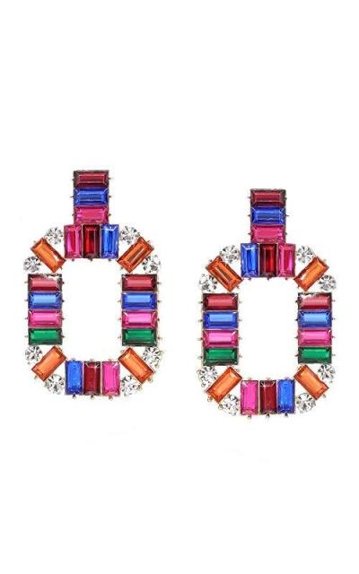 Bezalel Artistry Baguette Rhinestone Rainbow Color Earrings