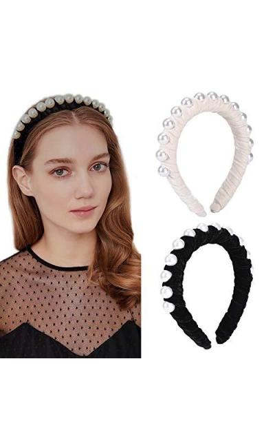 Velvet Braided Pearl Padded Headband
