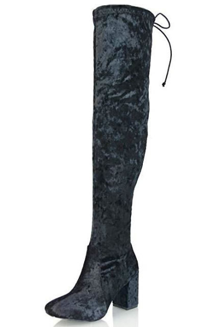 ESSEX GLAM Velvet Thigh High Boots