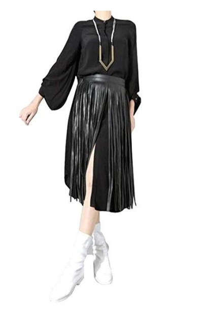 Maikun Leather Fringe Dress