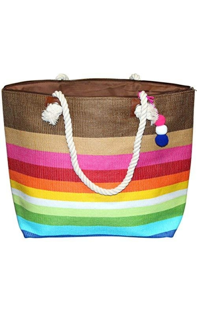 Large Zipper Top Stripe Straw Look Beach Bag Tote
