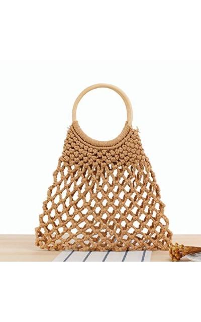 WUIOS Hand-woven Mesh Beach Bag Tote
