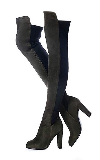Shoe'N Tale Faux Suede Chunky Heel Stretch Over The Knee Thigh High Boots