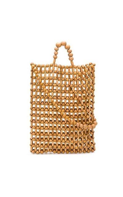 Bamboo Wood Pearls Beaded Bag