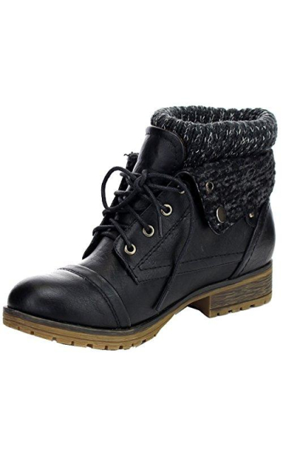 REFRESH WYNNE Combat Style Lace Up Ankle Boot