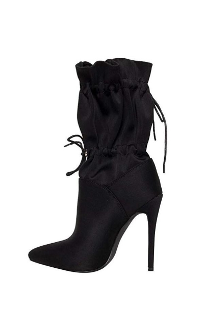 OLCHEE Slouchy Pointed Toe lace up Booties