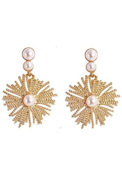 LOYOFO Statement Flower Dangle Earrings