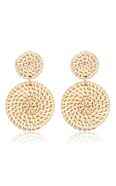 Rattan Weave Straw Double Disc Drop Earrings
