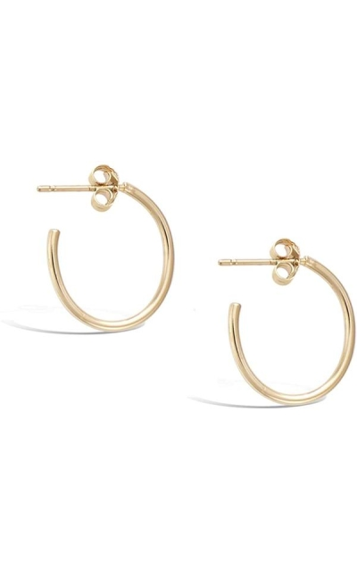 Agvana Gold Plated Small Dainty Thin Post Hoop Earrings
