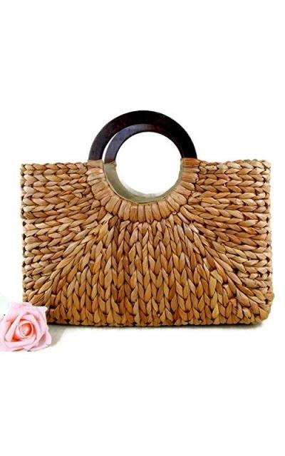 Top Handle Straw Handbag