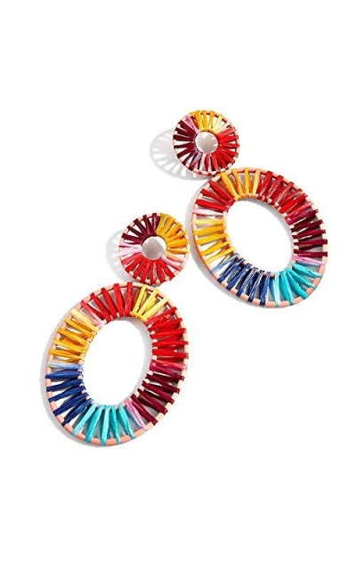 Enameljewelries Rainbow Rattan Drop Earrings