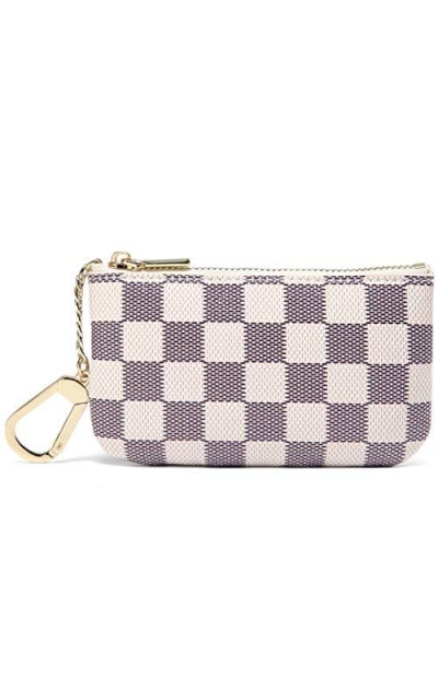 Daisy Rose Luxury Zip Checkered Key Chain pouch