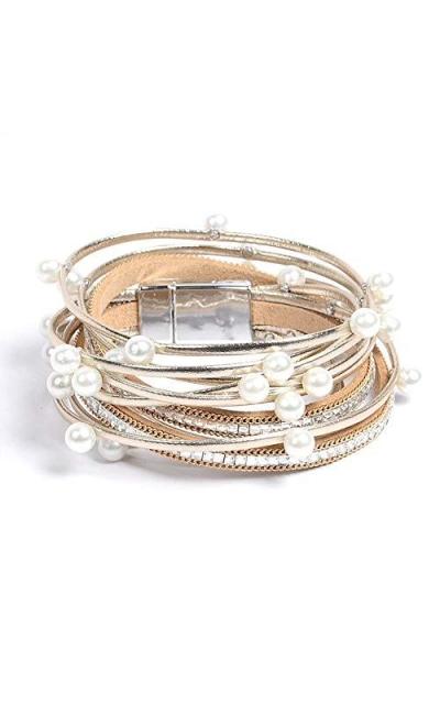 TOKO Multilayer Bangle Pearl Bracelets