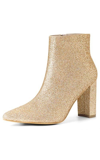Allegra K Glitter Pointed Toe Chunky Heel Ankle Boots