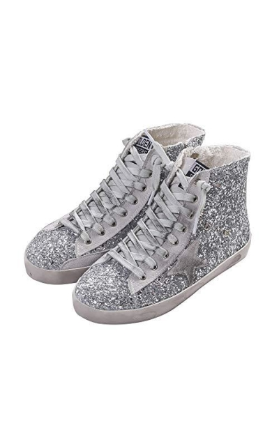 Adult Flat High Top Glitter Sneakers