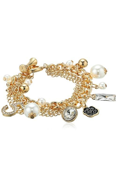 Fashion Logo Gold Tone Chain Inspired Charm Bracelet