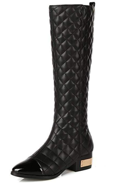 Nine Seven Patent Leather Quilted Cap Toe Boot