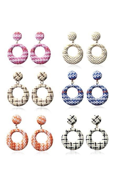 ATIMIGO 6 Pairs Raffia Woven Earrings