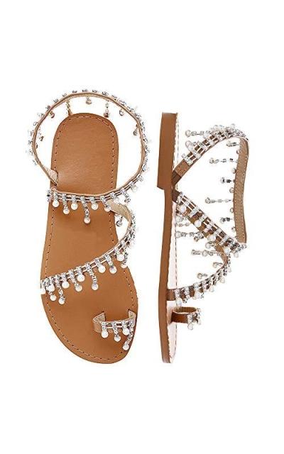 Shoe'N Tale Bohemia Bling Rhinestone Pearl Flat Sandals
