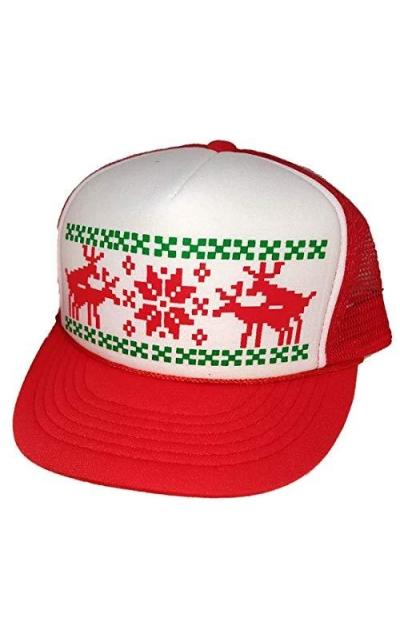 Humping Reindeer Snowflake Mesh Trucker Hat