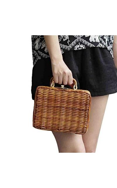 Natural Hand-Woven Rectangular Wicker Straw Handbag