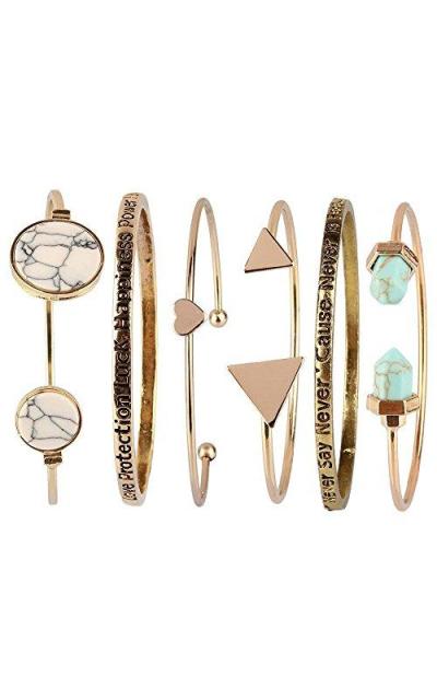 Beauty7 6PCS Turquoise Stackable Open Cuff Bracelets