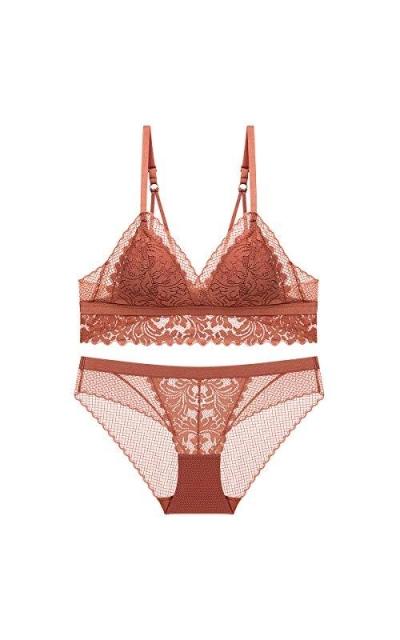 SHEKINI Lace Triangle Floral Bra Wirefree Lingerie Bra and Panties Set