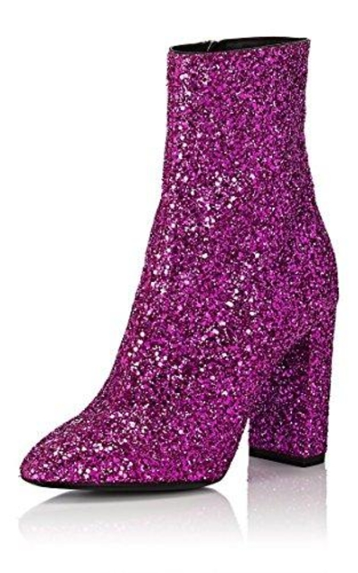 XYD Glitter Low Block Heel Ankle Boots Sequins Round Toe Dress Booties Shoes with Zips Size 11 Glitter-Rosy