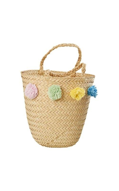 Rice Natural Beach Bag with Pom Poms