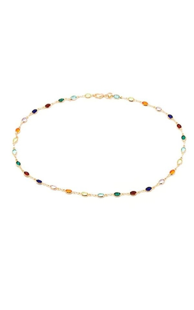 Barzel 18K Multi Color Crystal Baguette Anklet