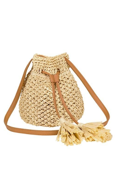 LUKATU Straw Bucket Crossbody Bag