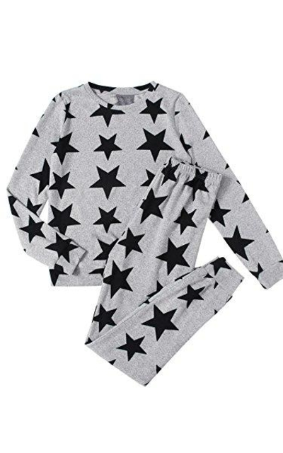 DIDK Star Print Sweatshirt and Sweatpants Pajama Set